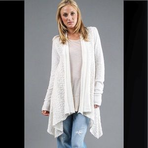 FREE PEOPLE | WHITE CROCHET KNITTED CARDIG…
